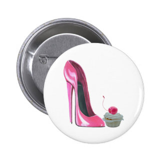 Pink Stiletto Shoe and Cupcake Button