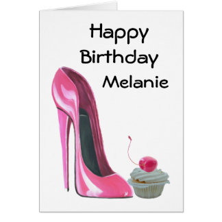Pink Stiletto Shoe and Cupcake Card