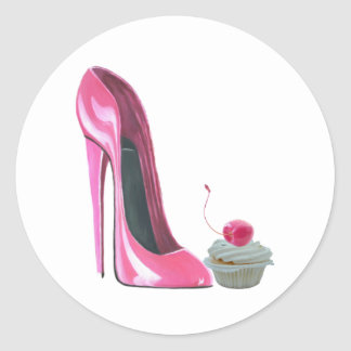 Pink Stiletto Shoe and Cupcake Classic Round Sticker