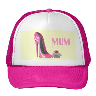 Pink Stiletto Shoe and Cupcake Trucker Hat