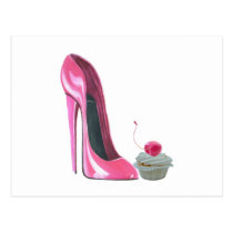 Pink Stiletto Shoe and Cupcake Postcard