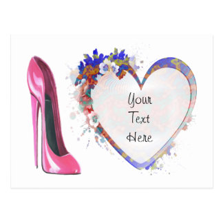 Pink Stiletto Shoe and Floral Heart Post Card