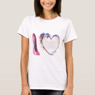 Pink Stiletto Shoe and Floral Heart T-Shirt