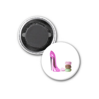 Pink Stiletto Shoe and French Macaroons Art Magnet