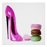 Pink Stiletto Shoe and French Macaroons Art Poster