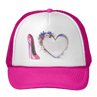 Pink Stiletto Shoe and Heart Gifts Cap