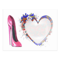Pink Stiletto Shoe and Heart Gifts Postcard