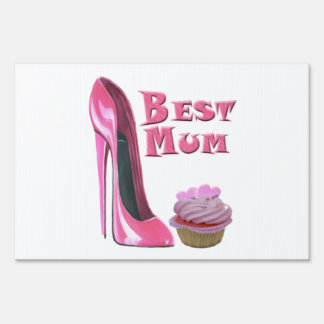 Pink Stiletto Shoe and Hearts Cupcake Yard Sign