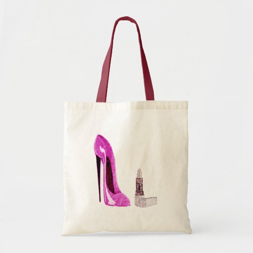 Pink Stiletto Shoe and Lipstick Art Budget Tote Bag