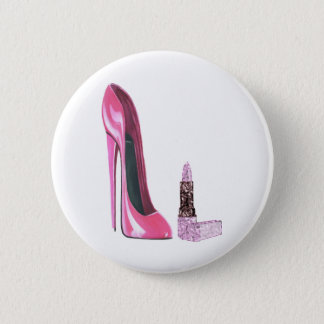 Pink Stiletto Shoe and Lipstick Art Button