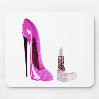 Pink Stiletto Shoe and Lipstick Art Mouse Pad