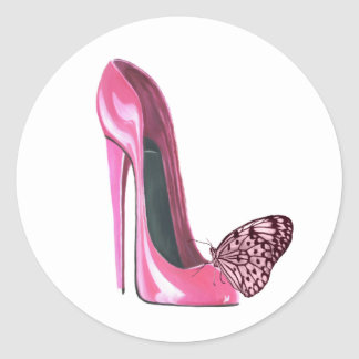 Pink Stiletto Shoe and Pink Butterfly Classic Round Sticker