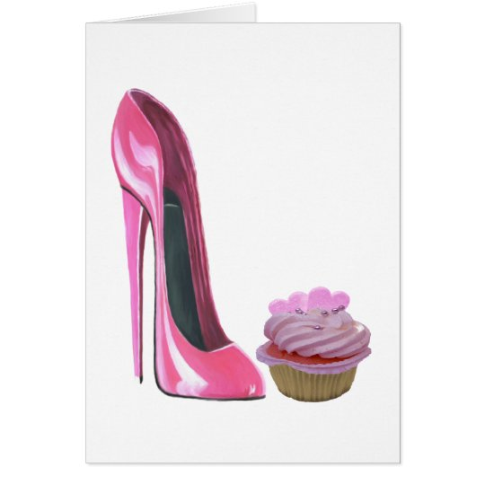 Pink Stiletto Shoe and Pink Cupcake with Hearts Card