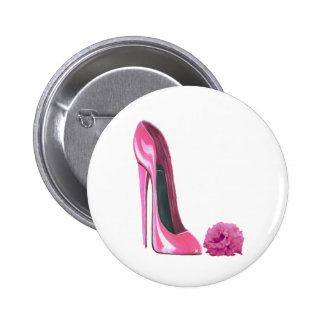 Pink Stiletto Shoe and Pink Rose Art Button