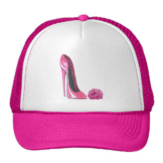 Pink Stiletto Shoe and Pink Rose Art Trucker Hats