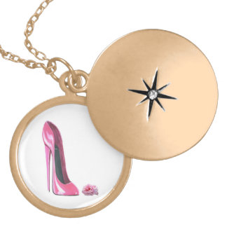Pink Stiletto Shoe and Rose Gold Necklace