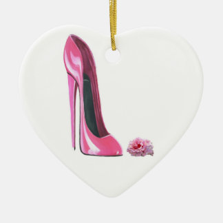 Pink Stiletto Shoe and Rose Heart Ornament