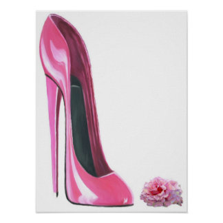 Pink Stiletto Shoe and Rose Print