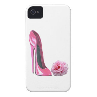 Pink Stiletto Shoe Art and Beautiful Rose Case-Mate iPhone 4 Case