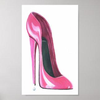 Pink Stiletto Shoe Art Poster