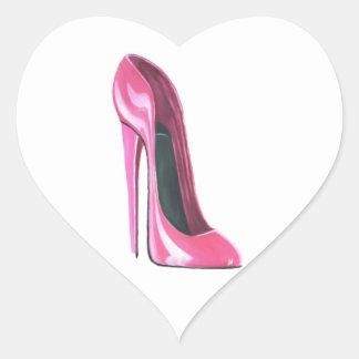 Pink Stiletto Shoe Heart Sticker