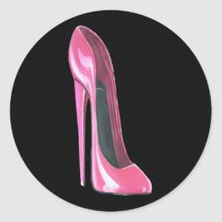 Pink Stiletto Shoe on Black Sticker