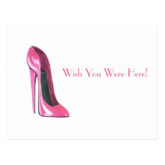 pink stiletto shoe postcard