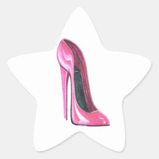 Pink Stiletto Shoe Star Sticker