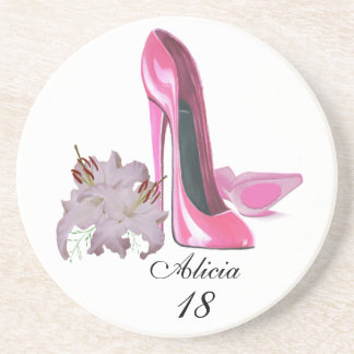 Pink Stiletto Shoes and Lilies Customisable Coaste Coaster