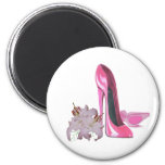 Pink Stiletto Shoes and Lilies Fridge Magnets