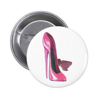 Pink Stiletto Shoes Art Button