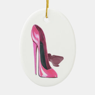 Pink Stiletto Shoes Art Ceramic Ornament