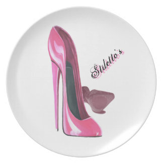 Pink Stiletto Shoes Art Plate