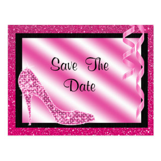 Pink Stiletto & Streamers Quinceañera Postcard
