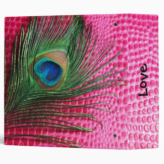Pink Still Life with Peacock Feather 3 Ring Binders
