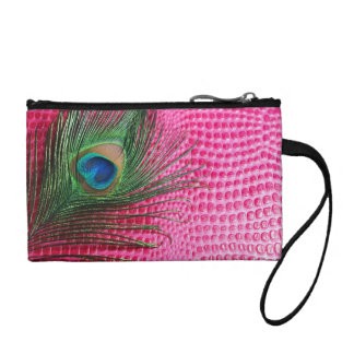 Pink Still Life with Peacock Feather Change Purse