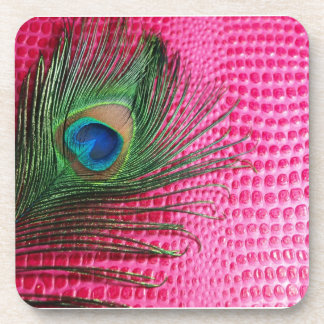 Pink Still Life with Peacock Feather Beverage Coaster