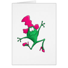 Pink Stilletto Happy Frog Greeting Card