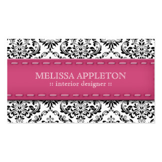 Pink Stitched Damask Interior Designer Double-Sided Standard Business Cards (Pack Of 100)