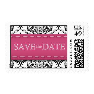 Pink Stitched Damask Save the Date Postage Stamps