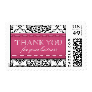 """Pink Stitched Damask """"Thank You for Your Business"""" Stamp"""