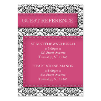 Pink Stitched Damask Wedding Guest Reference Cards