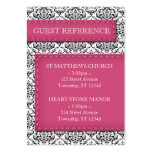 Pink Stitched Damask Wedding Guest Reference Cards Business Card