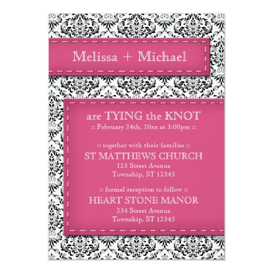 Pink Stitched Damask Wedding Invitations