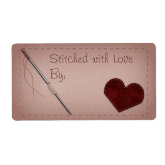 "Pink ""Stitched with Love"" Sewing Gift Label"
