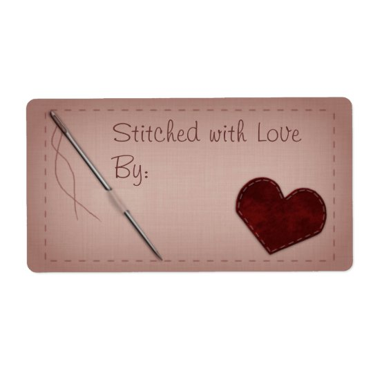 """Pink """"Stitched with Love"""" Sewing Gift Label"""