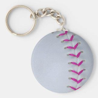 Pink Stitches Baseball / Softball Keychain