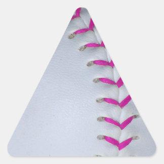 Pink Stitches Baseball / Softball Triangle Stickers