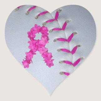 Pink Stitches Softball   Awareness Ribbon Heart Sticker