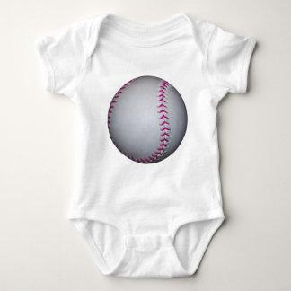Pink Stitches Softball Baby Bodysuit
